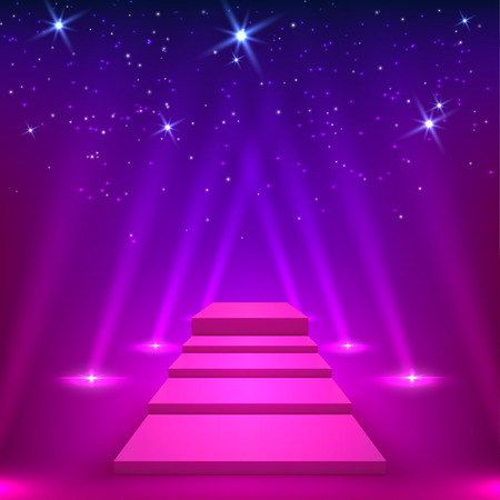 winner: Purple lane with rays of spotlights. Podium for the winners. Vector illyustration