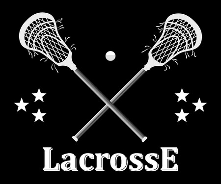 indian teenager: Crossed lacrosse stick and ball on a black background.