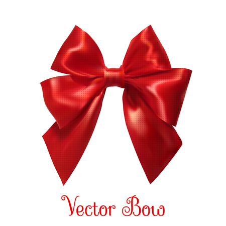 red bow: Realistic red bow on a white background.