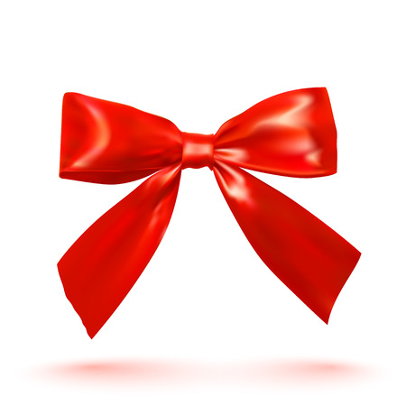 to tie: Realistic bright red bow on a white background.  Illustration