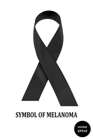 condolence: Symbol of melanoma Black ribbon - a sign of condolence.