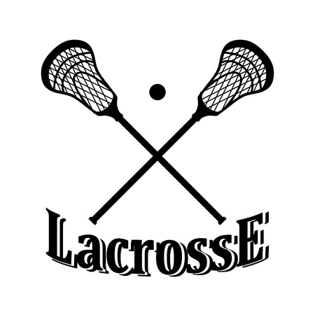 Crossed lacrosse stick and ball.  Stock Illustratie