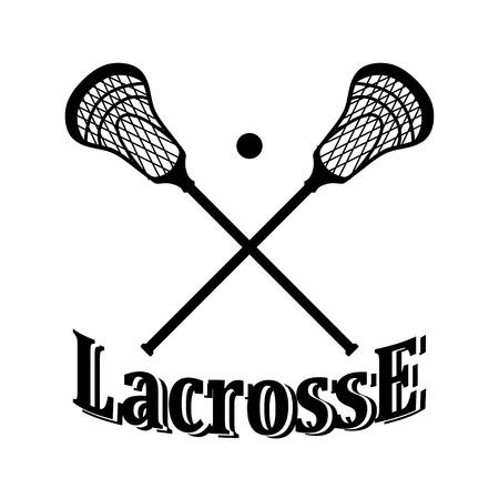 Gekruist lacrosse stick en bal.