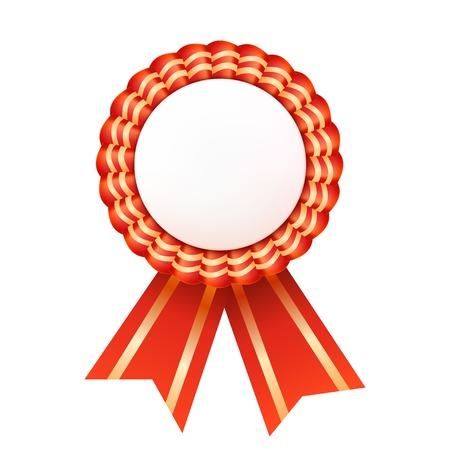 privilege: Red satin ribbon medallion isolated on white background. Success privilege. Vector illustration.