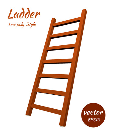 corporate ladder: Ladder to the low poly style. The element of your design. Vector illustration