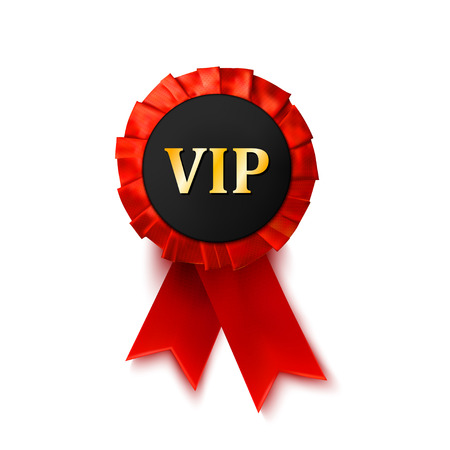 privilege: Red badge award of satin ribbon isolated on white background. Success, privilege. VIP. Vector illustration. Illustration