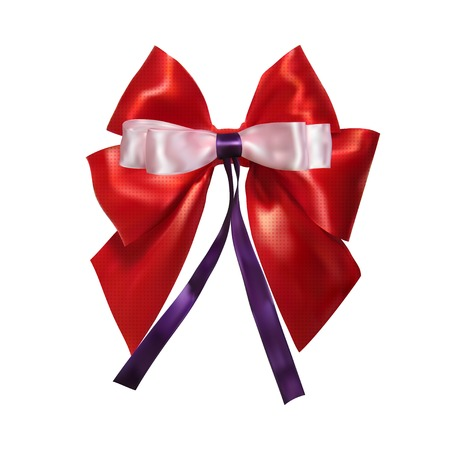 pink satin: Red, lush satin bow and pink bow isolated on a white background. Design your gift products. Vector illustration. Illustration
