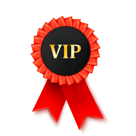 privilege: Red medal award of satin ribbon isolated on white background. Success, privilege. VIP. Vector illustration.
