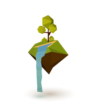 paper arts and crafts: Abstract island with trees and a waterfall in the low poly style. Vector illustration