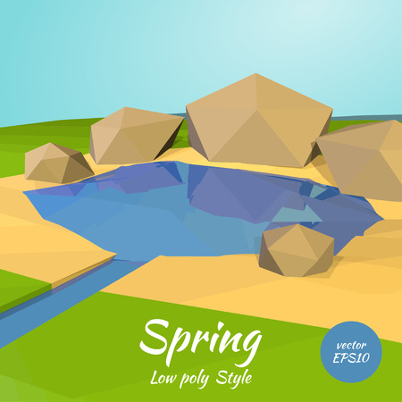 horizon over land: Polygon illustration of spring and rocks in the low poly style. Vector illustration