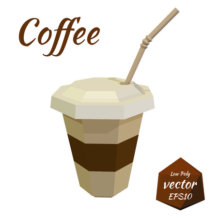 cocktail straw: Paper cup for Coffee and Latte with cover and cocktail straw on white background. Isolate. Icon for fast food menu. Vector illustration