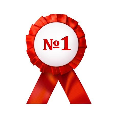 favorite number: Red badge number 1 on an white background. Vector illustration Illustration