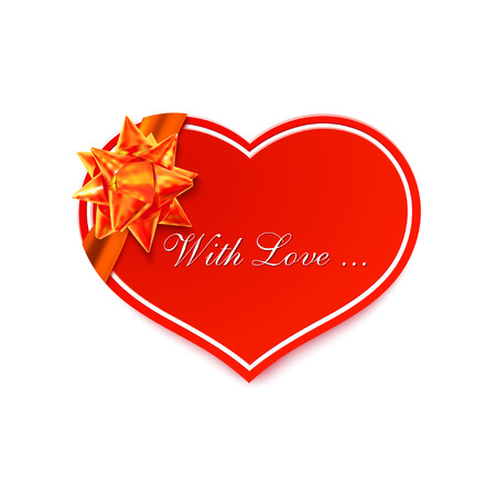 courtship: Red romantic card with golden bow heart from paper tape isolated on a white background. Valentines Day. Wedding. Vector illustration. Illustration