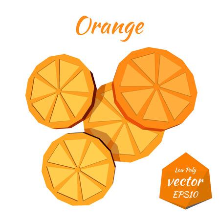 orange slices: Set orange slices isolated on a white background. Low poly style. Vector illustration.