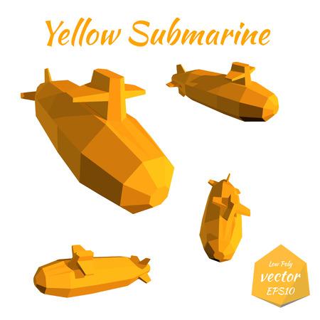 Set submarines isolated on white background. Yellow Submarine. Low poly. Vector illustration. Illustration