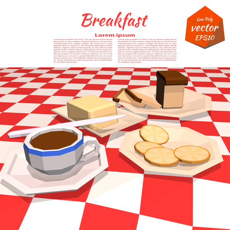 bread and butter: Banner with avtrakom on the table: butter, coffee, bread, knife, lemon, plate. Healthy lifestyle. Low poly style. Vector illustration.