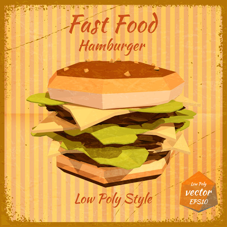 price list: Big hamburger on a retro background in low-polygonal style. Grunge. Design price list of your bistro. Fast food. Vector illustration.