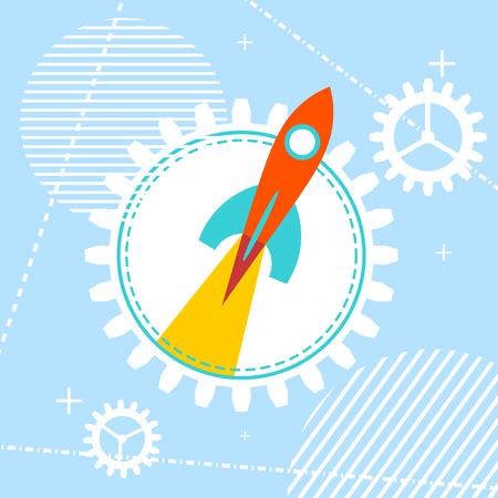 workshop: Blue technology background with a rocket at the start. Design your start-ups, workshops, training programs and projects. Vector illustration. Illustration