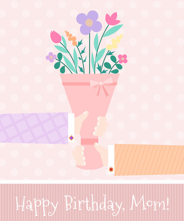 husband: Pink festive background with bouquet of flowers and hands of her husband and son. Design holiday cards, banners. Moms birthday. Retro background. Vector illustration.