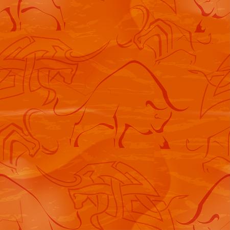 bullfighting: Seamless red background with bull in tribal style. Grunge, retro. Design farm. Bullfights, bullfighting. Vector illustration.