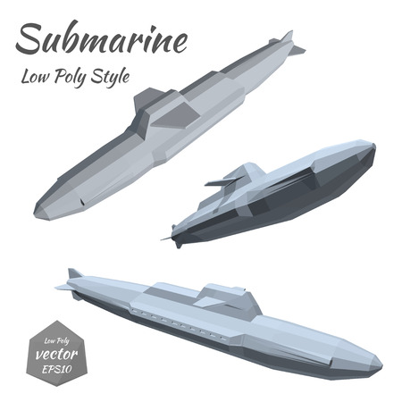 hostilities: Set submarines isolated on white background. Low poly. Vector illustration.