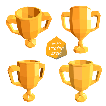 Icons gold cup isolated on a white background. The award for the first place. Low poly style. Vector illustration. Ilustração