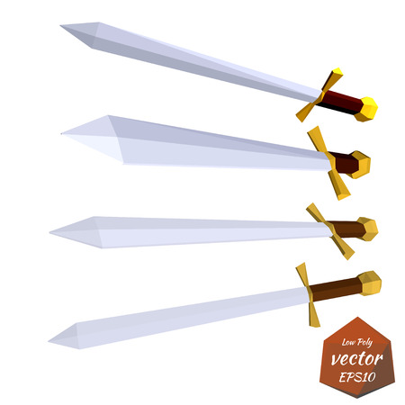 Set of swords isolated on white background. Low poly style. Vector illustration.