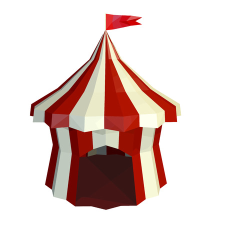 entrance hall: The dome of the circus is isolated on a white background. Circus. Low poly style. Vector illustration.