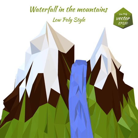 snowcapped: Landscape mountain river and snow-capped mountain peaks. Low poly style. Vector illustration.