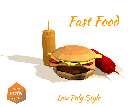 price list: Appetizing hamburger and the sauce: mustard, ketchup Isolated on white background in low-polygonal style. Grunge. Design price list of your bistro. Fast food. Vector illustration. Illustration