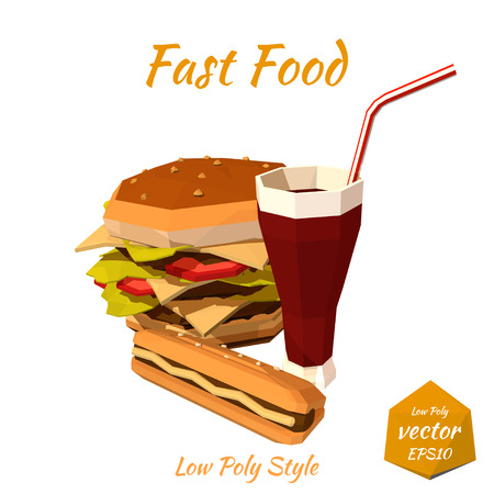 sodas: Set of fast food: hamburgers, hot dog with mustard, sodas drink with a straw isolated on white background. Low poly style. Design your menu diner bistro. Vector illustration.