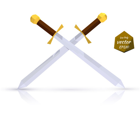 sword: Two swords on a light background with reflection. Low poly style. Vector illustration.