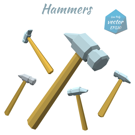icono computadora: Set of hammers isolated on white background. Low poly style. Vector illustration. Vectores