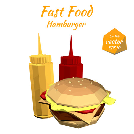 price list: Hamburger and the sauce: mustard, ketchup Isolated on white background in low-polygonal style. Grunge. Design price list of your bistro. Fast food. Vector illustration.