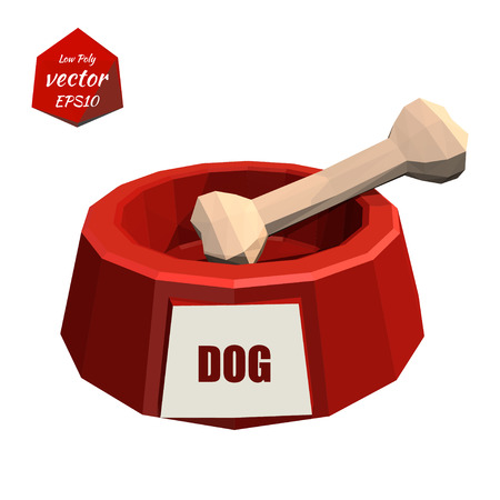 resin: Red icon pet bowls and bone isolated on white background. Dog. Low poly style. Vector illustration. Illustration