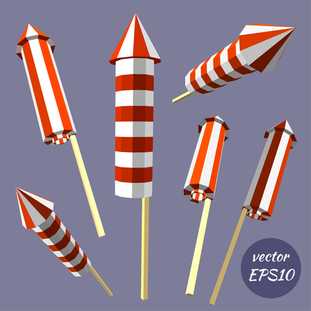 isolated: Set of fireworks, poppers isolated on white background. Celebrating birthday. Low poly style. Vector illustration. Illustration