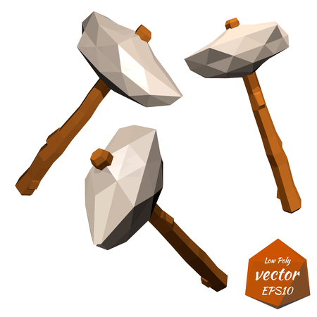 primitive tools: Ancient stone ax with a wooden handle isolated on a white background. Low poly style. Vector illustration.
