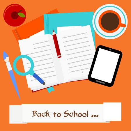 beginning school year: A set of stationery on a red background. Back to School. Vector illustration.