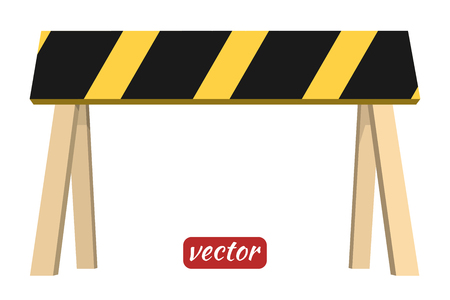under construction symbol: Wooden barrier isolated on white background. Black and yellow stripe. Vector illustration.