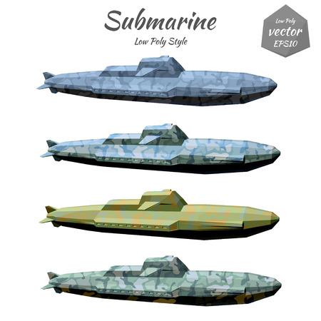 Set submarines khaki isolated on white background. Low poly. Vector illustration.