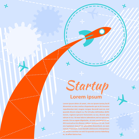 computer education: Banner with missiles and aircraft. Startup. Flat style. Vector illustration. Illustration