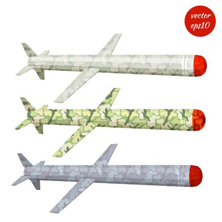 Set cruise missile khaki isolated on white background. Low poly style. Vector illustration.