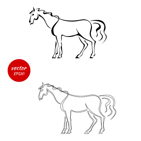 A set of silhouettes of horse with beautiful mane isolated on white background. Vector illustration. Illustration