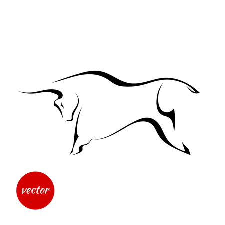 Black silhouette of a powerful bull. Vector illustration.