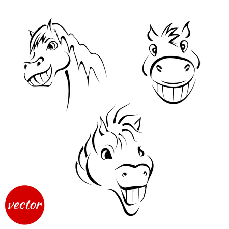 A set of sketches of a smiling muzzle horses isolated on white background. Vector illustration.