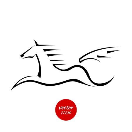 pegasus: Siluetas de un caballo saltando aislados sobre un fondo blanco. Ilustraci�n del vector.