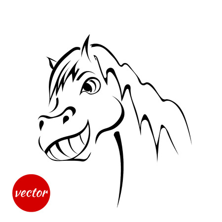Sketch face friendly horses isolated on white background. Vector illustration.