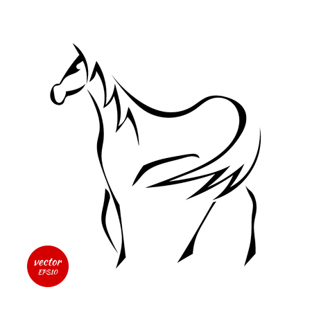 mane: Silhouettes of horse with beautiful mane isolated on white background. Vector illustration.