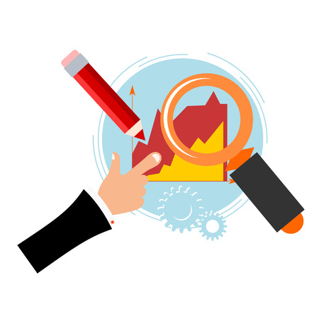 formal signature: Blue background with a Magnifier, pencil, chart and the hand of man. Business. Flat design. Vector illustration. Illustration