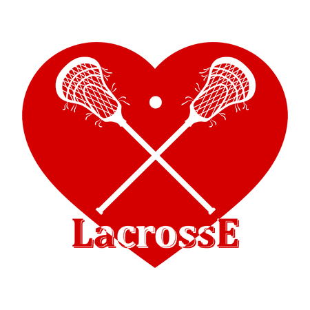 Crossed lacrosse stick, ball and red heart. Vector illustration